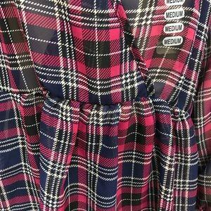 soul cake Tops - FINAL SALE Plaid SHEER Blouse Shirt Navy Pink